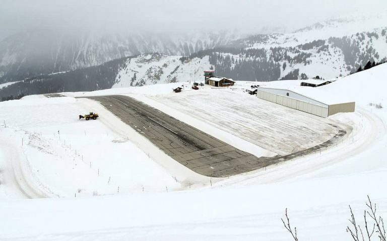 Courchevel International Airport In Winter