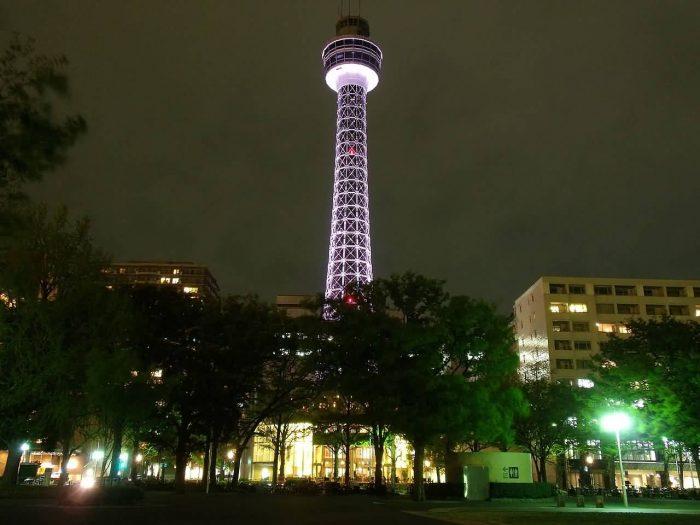 Yokohama Marine Tower Lightup At Night