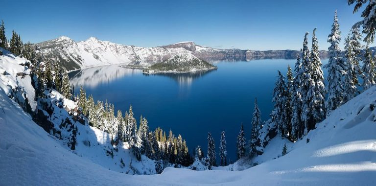 Crater Lake Winter Panoramic View