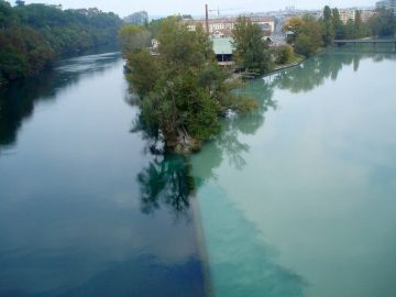Rhone River And Arve River