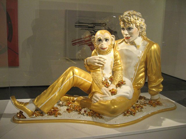Sculptures of Jackson and Bubbles