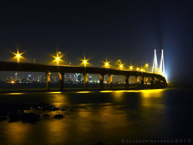 Bandra Worli Sea Link At Night