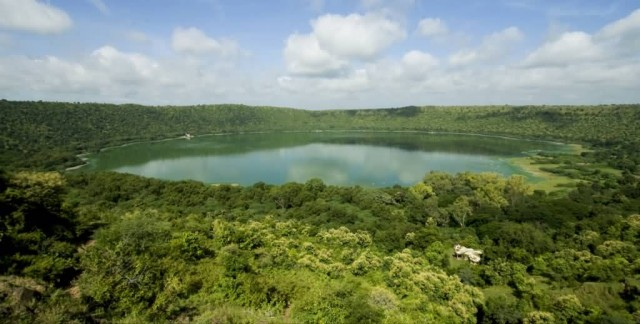 Lonar Crater Lake Panoramic View