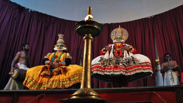 Kathakali Performance In Front Of Big Lamp