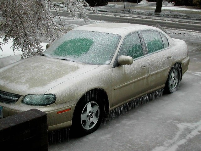 Car Effected By Ice Storm