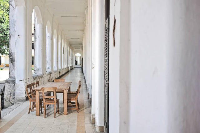 Teak Table And Chairs In Hall of Lawang Sewu Semarang
