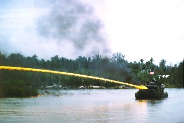 Riverboat Using Napalm Bomb