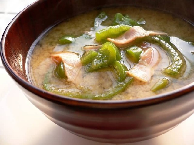 Miso Soup With Bacon And Green Pepper