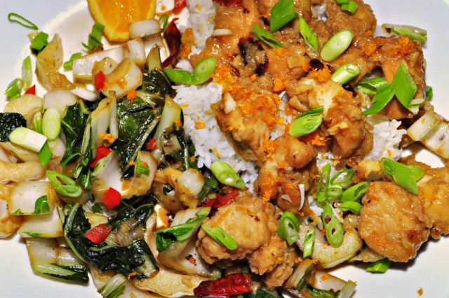 Orange Chicken With Sweet And Sour Bok Choy
