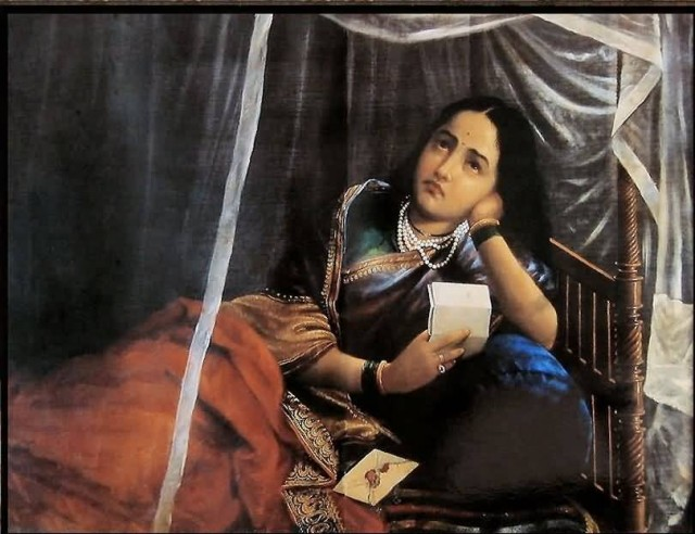 Raja Ravi Varma Disappointing News Painting