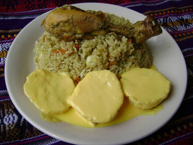 Rice With Chicken And Potato Huancaina