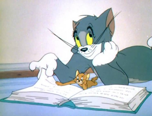 Tom Reading Book With Jerry