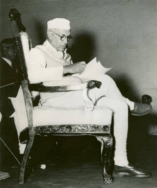 Pandit Nehru Preparing His Speech